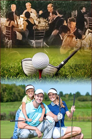 Montage of photos of a golf club, family on course, and dinner party
